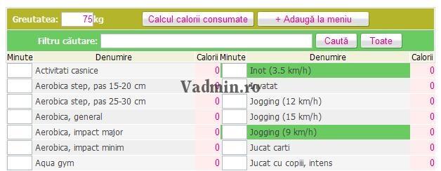 consum-calorii-activitati-adaugate Cautare activitati in tabelul consum de calorii