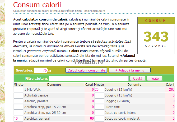 Calculator consum calorii