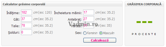 Calculator procent grasime corporala